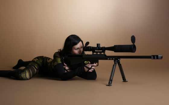 девушка, снайпер, винтовкой, снайперской,