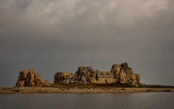 bretagne, pictures, франция, скалы, небо, meur, castel, река,