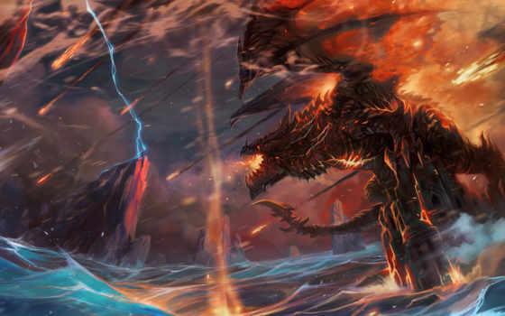 warcraft, дракон, world, lightning, огонь, guo, jian, tail, девушка, фея,