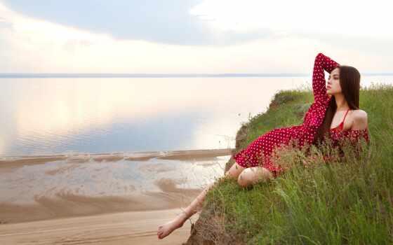 море, женщина, пляж, модель, смотреть, волосы, blonde, red, платье, закат, день