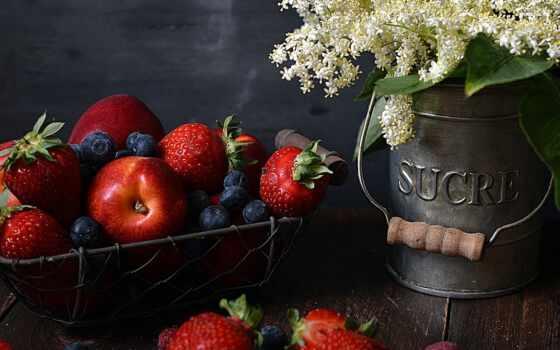 плод, ягода, цветы, еда, черника, клубника, букет, meal, коктейль, crate, ноутбук