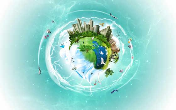 люди, деревья, шар, город, воздушный, вода, государство, дома, птицы, идеальное,