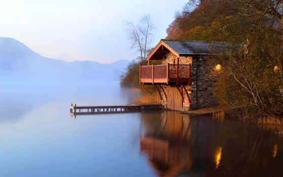 озера, берегу, house