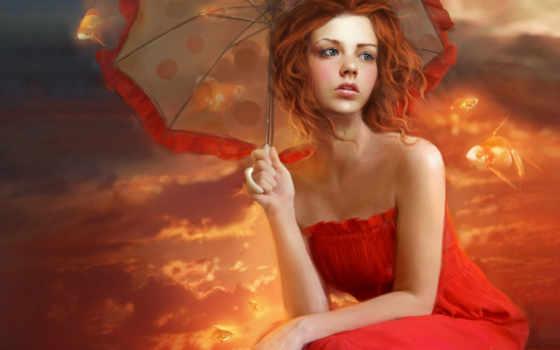 девушка, рыжая, рисунок