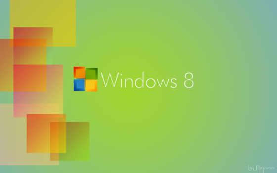 Windows 8 зелёный фон, оранжевые квадраты
