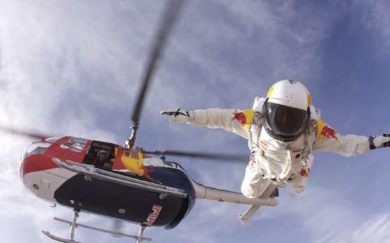 прыжок, вертолета, flytcam