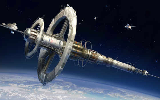 станция, космическая, корабль, cosmos, взгляд,