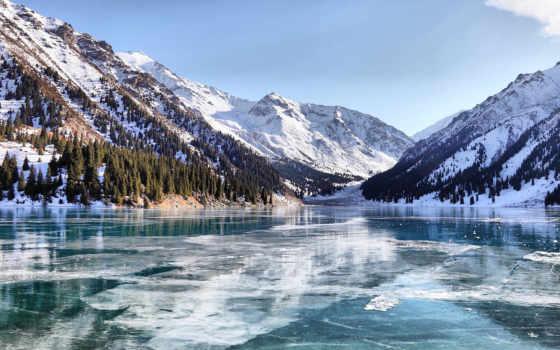 горы, winter, озеро