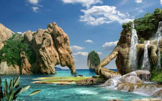 природа, водопад, горы, море, скалы, камни, dream,
