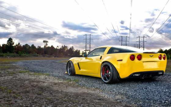машина, желтая, дорога, внедорожная, mine, chevrolet,