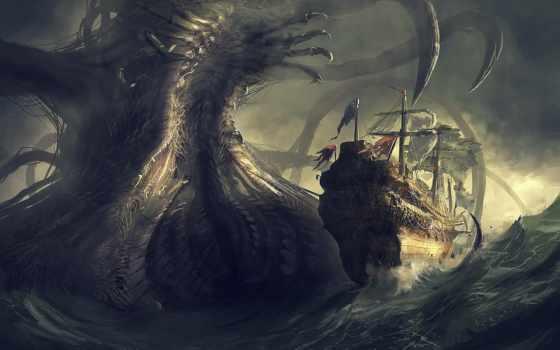 корабль, monster, море, art, гигант, danger,