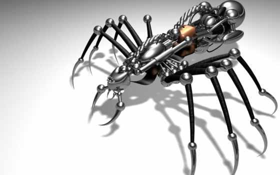 spider, notice, undefined, тень, робот, поверхность, металл, скорпион, title, robots, con, arañas, fondo, use,