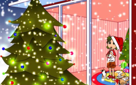 аниме, christmas, yotsubato, miuki, yotsuba, картинка, следующая, предыдущая, tree, tapety, чтобы, tags, year, info, post, new, home, yıl,