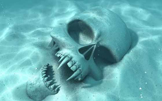 skull, underwater, lên