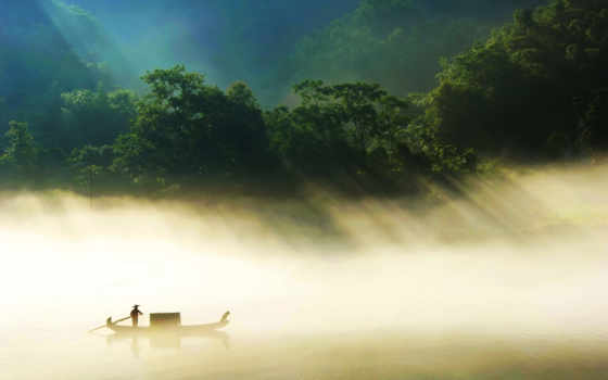 лодка, река, туман