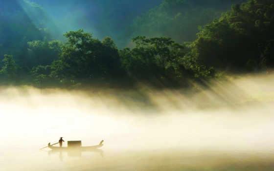 лодка, река, туман, android, trees, photos, mac, sunlight, ios,
