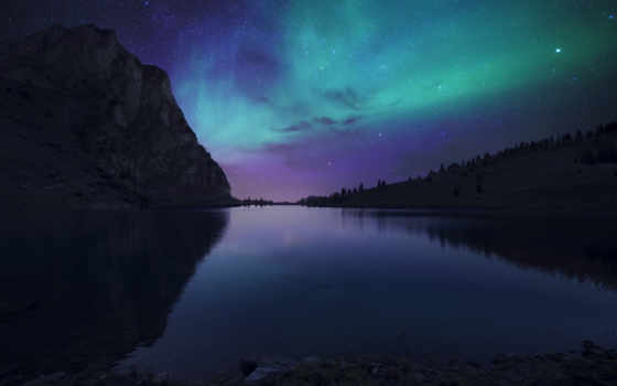 aurora, озеро, nightfall, interfacelift, коллекция, desktop, withlittlesheep, resolution,