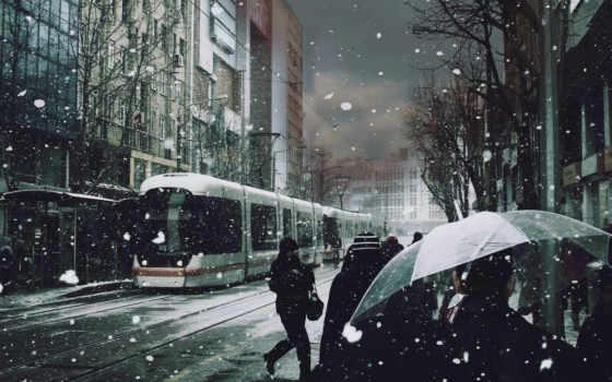 снег, люди, трамвай, зонты,