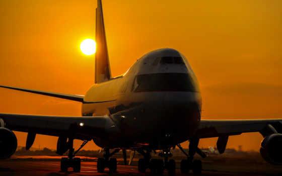 boeing, пассажирский, самолёт, небо, 747, закат,