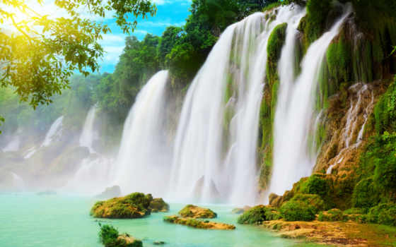 , водопад, горы, деревья