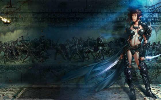 эльфийка, девушка, art, эльф, оружие, дроу, ilich, кинжалы, henriquez, стена, panther,