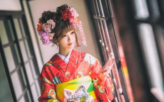 кимоно, девушка, глаза, стиль, desktop, фон,