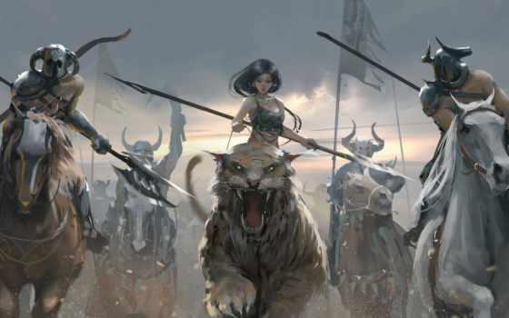 art, девушка, fantasy, тигр, drawing, anime, illustration, concept