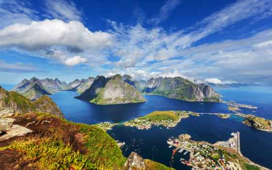 noruega, lofoten, norwegian, природа, горы, parede, landscape, por, небо, мар, casas,