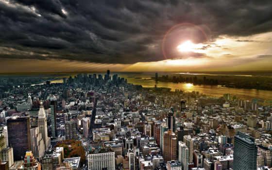 new, york, нью, небоскребы, город, небо, сверху, взгляд, утро,