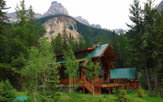 casa, canadá, альберта, villa, bosque, montañas, fondos, rboles, papéis, árvores,