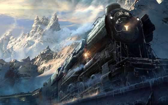поезд, поезда, загружено, коллекция, уже, лучшая, fantasy, небо,