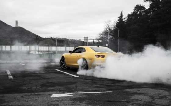 camaro, chevrolet, burnout, дыма, дым, yellow,