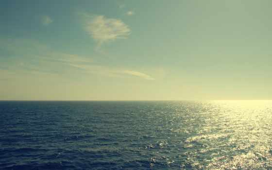 море, облака, горизонт