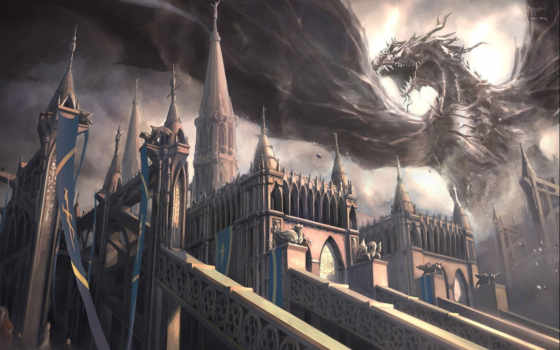 замок, дракон, art, крылья, yang, марк, monster, зубы,
