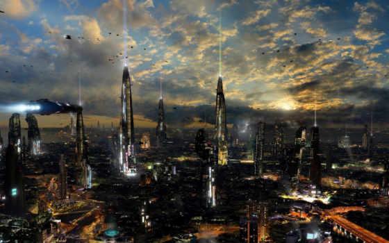 sci, planet, разбогатеть, картинка, scott, ричард, город,