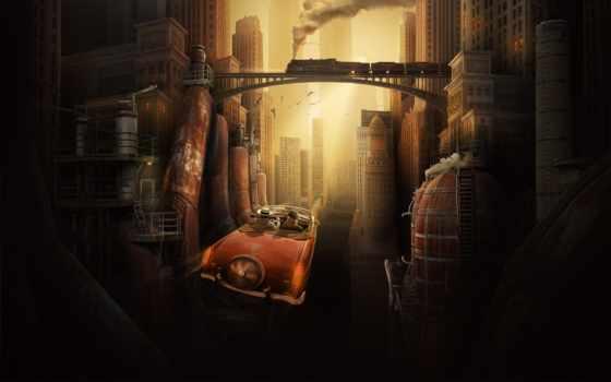 будущее, город, мегаполис, рисунок, fantasy, ретро, поезд, авто, небоскребы, будущего,