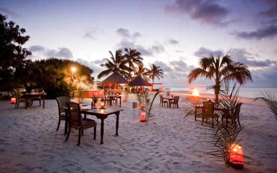 романтика, пляж, ocean, песок, кафе, ресторан, вечер, разные, качестве,