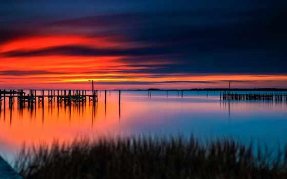 лодка, оранжевый, закат, burst, гладь, pantalla, море, водная, природа,