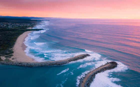 landscape, берег, закат,