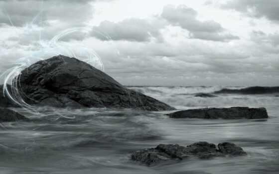 небо, побережье, rock, камень, волна, море, пляж, you, природа, песок, water