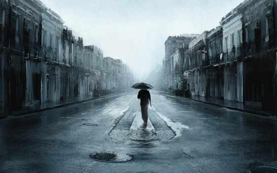 мужчина, дорога, дождь