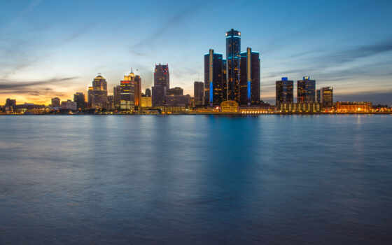 skyline, detroit, фотопанно, blue, hour, alcatel, от, город, windsor, онтарио, вечер,