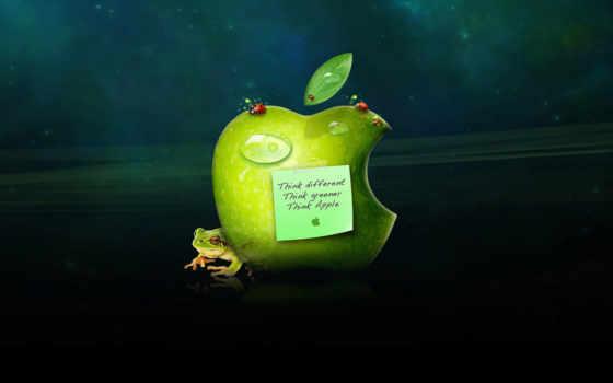 apple, зелёный, think
