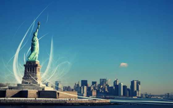 new, york, статуя, свободы, город, liberty,