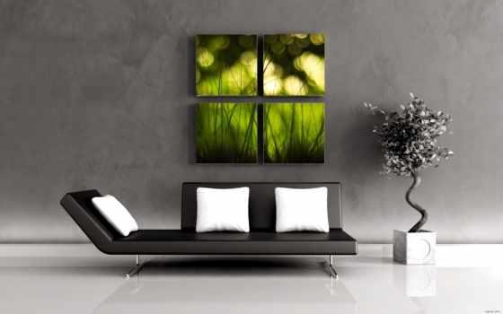 картинка, интерьера, интерьер, чёрно, диванчик, диван, картины, тренировочный, белое, купить, постеры,