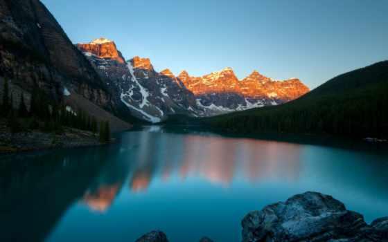 озеро, moraine, banff, park, national, канада, канадский, ten, морейн,