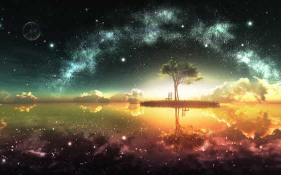 дерево, art, звезды