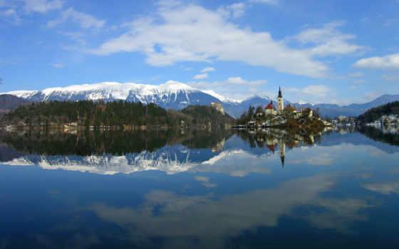 slovenia, озеро, winter