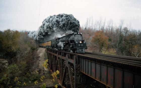 дым, паровоза, локомотив, мост, въезжает, вагонами, iron, tubing, мосты,