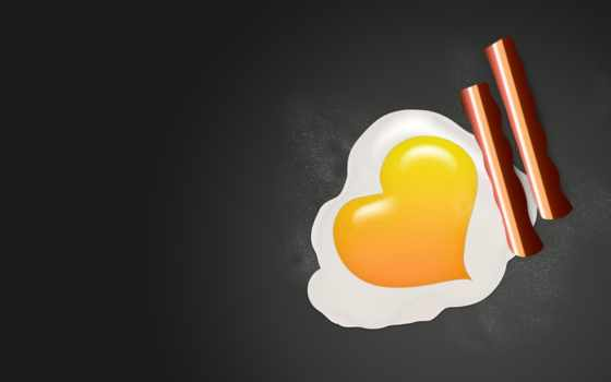 eggs, яйцо, сердце, желток, жареный, фон, love, bacon,